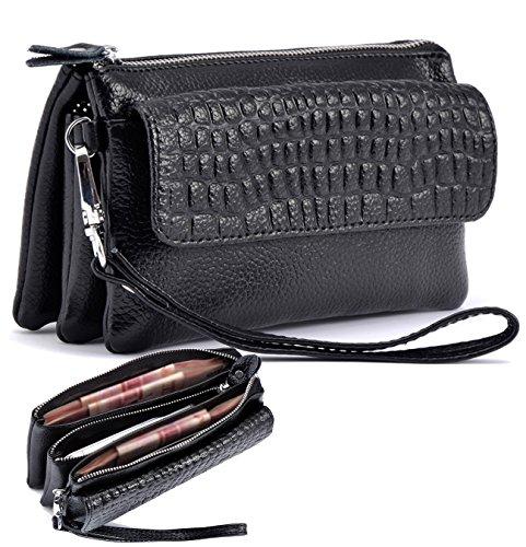 Isuperb Women Clutch Leather Wristlet Zipper Wallet Purse Shoulder Bag Cross Over Bag Card Bag Handbag With Removable Wrist Strap 6 9X3 7X1 8 Inches  Black