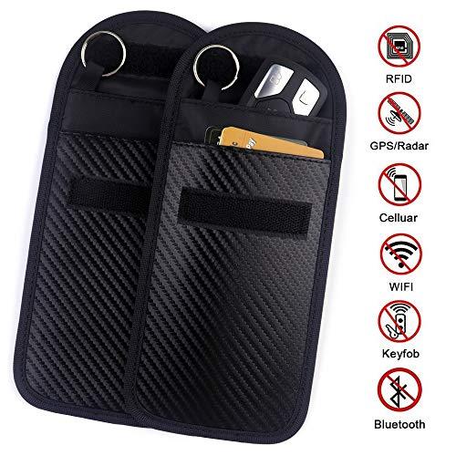 Car Key Signal Blocker Case - 2 Pack Faraday Cage Shield Car Key Fob Signal Blocking Pouch Bag Keyless Entry Fob Guard Pouch Bag,Antitheft Lock Devices Car Key Protector WIFI/GSM/LTE/NFC/RF Blocker