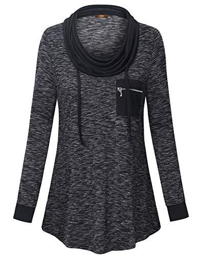 Gaharu Cowl Neck Tops for Women, Ladies Long Sleeve T Shirts Color Block Drawstrings Zipper Pullover Tunic Sweatshirts Multicolor Black,L - Drawstring Neck Top