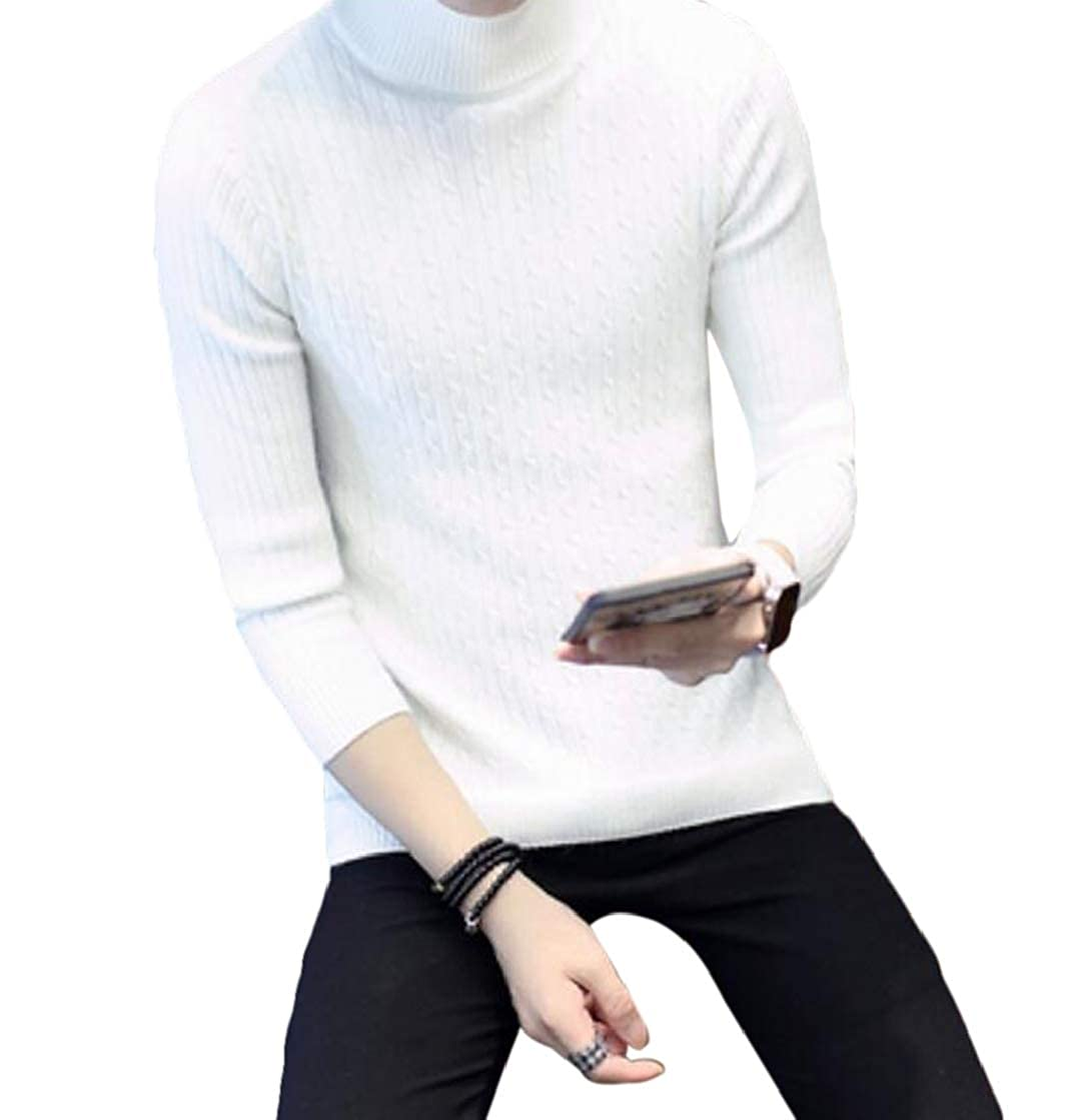 YYear Mens Turtleneck Long Sleeve Ribbed Cable Knit Fashion Pullover Sweater