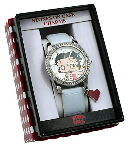 (Betty Boop BB020 White Strap Crystal Accented Heart Charm Casual Analog Watch )