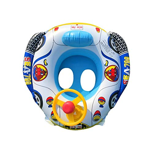 Tiowea Baby Thickening Swimming Ring Car Shape Inflatable Seat Ring with Steering Wheel Baby Floats