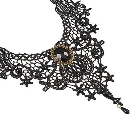 Lvcky - Conjunto de Collar y Pendientes de Encaje Negro gótico Vintage: Amazon.es: Hogar