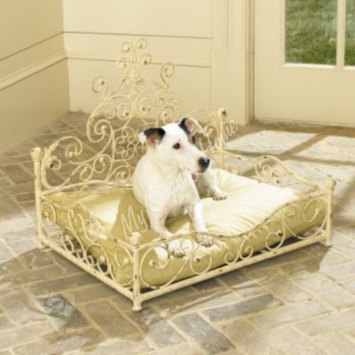 - MY SWANKY HOME French Cottage Fleur de Lis Iron Pet Bed | Dog Scroll White Cream Metal