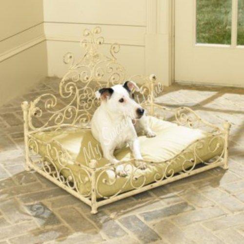 French Cottage Fleur de Lis Iron Pet Bed | Dog Scroll White Cream Metal
