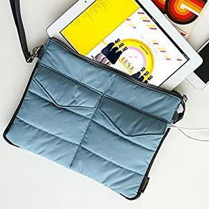 UNAKIM--Stylish Portable Carry Storage Nylon Bag Zip Organizer Case for iPad Tablet (blue)