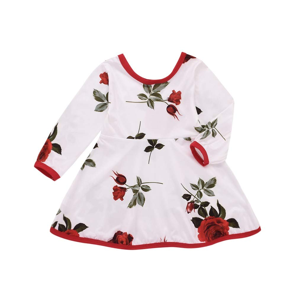 Rose Floral Print Princess Dresses Clothes 18M-4T HANANei Toddler Infant Baby Kids Girls