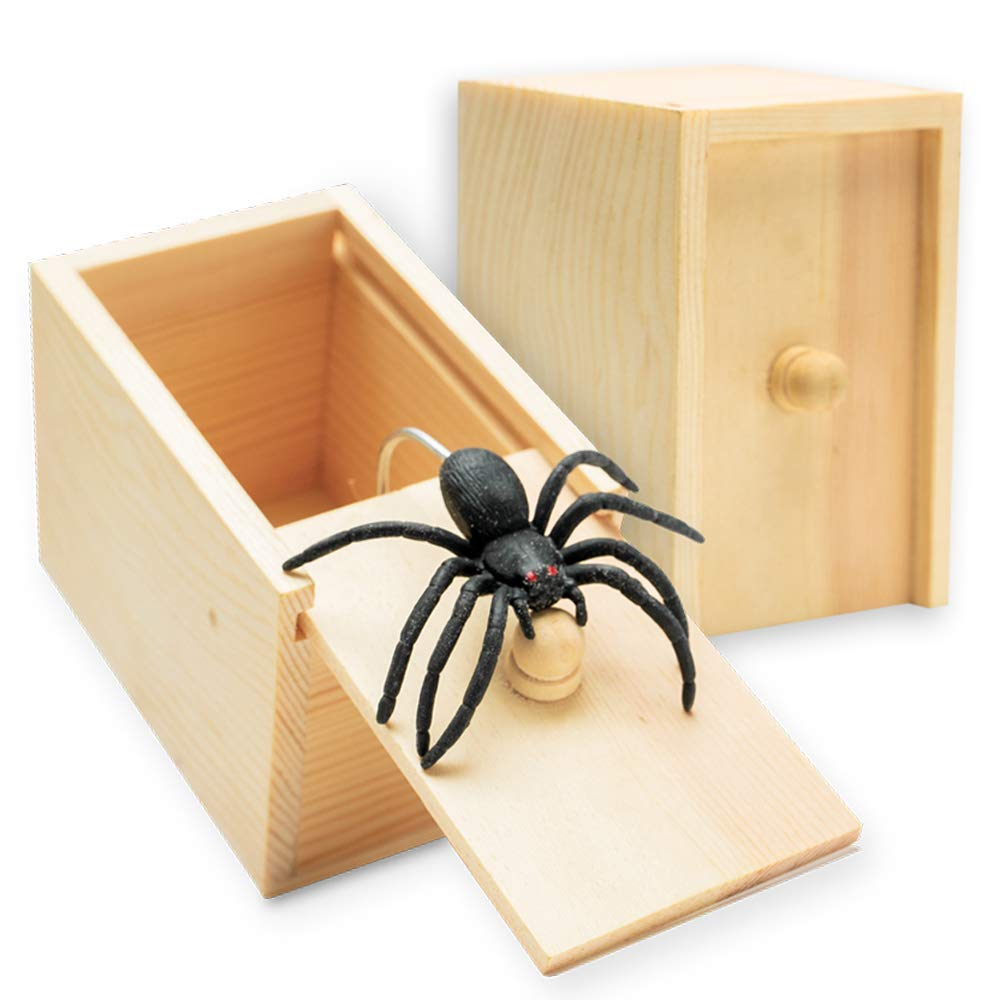 AHZI Handcrafted Solid Wood Surprise Box,Rubber Spider Prank Box,Fun Practical Surprise Joke Boxes,Single by AHZI