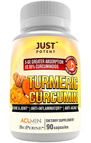 Just Potent Turmeric Curcumin | UltraHigh Absorption | Patented Clinically Researched and Tested | 56 Times Greater Bioavailability Than Competition | Bone amp Joint | Cognitive Function | AntiAging