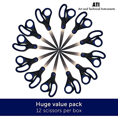 Multi-Purpose Utility Scissors for Office School and Home - 12 Pack of 8 Inch Soft Grip Quality Handle Scissors for Left and Right Handed with Strong Stainless Steel Blades Giving You Great Value and Precision (Scissors Black Soft Grip)