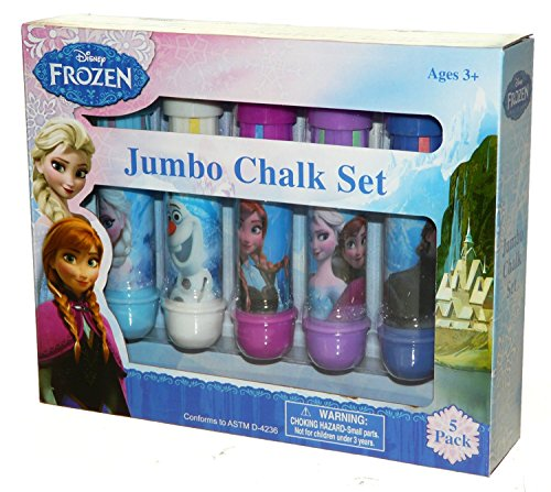 [Disney Frozen Jumbo Chalk Set 5 Back (5 Large Chalk Sticks & 5 holders) Color Kids Outdoor Backyard Fun Drawing Indoor] (Homemade Princess Costumes For Kids)