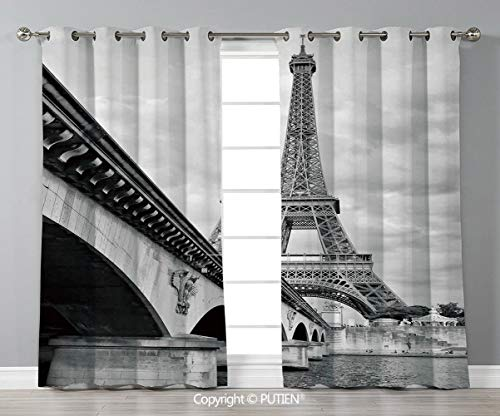 Grommet Blackout Window Curtains Drapes [ Eiffel Tower,Eiffel