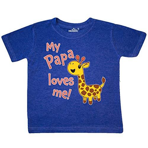 inktastic - My Papa Loves me- Cute Toddler T-Shirt 3T Retro Heather Royal 34e99 -