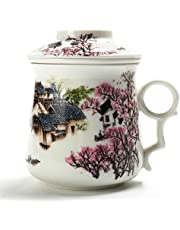 TEANAGOO M01-1Chinese Tea-Mug with Infuser and Lid, 13.7 OZ, Asian Village, Mom Women dad Porcelain Steel Filter,Cup Maker, Brewing Steep Strainer,Portable Adult White Loose Leaf