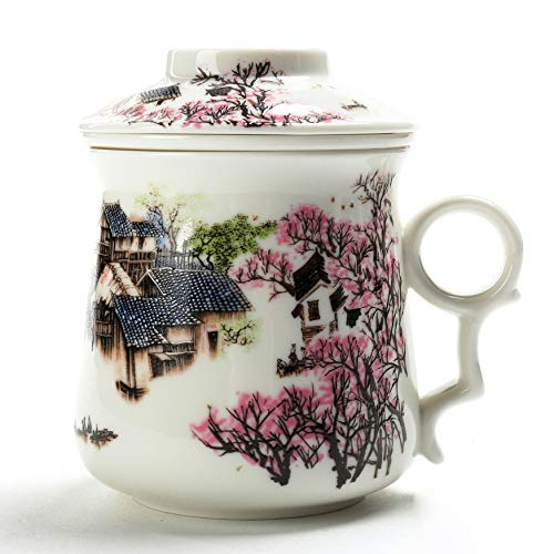 (TEANAGOO M01-1 Chinese Tea-Mug with Infuser and Lid, 13.7 OZ, Asian Village, Mom Women dad Porcelain Steel Filter,Cup Maker, Brewing Steep Strainer,Portable Adult White Loose Leaf)