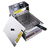 2500w deep fryer - Yescom 2500W 6L Commercial Electric Countertop Stainless Steel Deep Fryer Basket French Fry Restaurant Home Kitchen