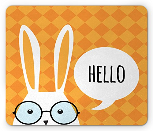 Rabbit Mouse Pad by Lunarable, Easter Bunny in White with Printed Hi Inside a Speech Balloon Big Spectacles, Standard Size Rectangle Non-Slip Rubber Mousepad, Pale Coffee - Trends In Latest Spectacles