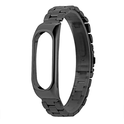 Amazon.com: Ayangg Solid Stainless Steel Strap Black for Mi ...