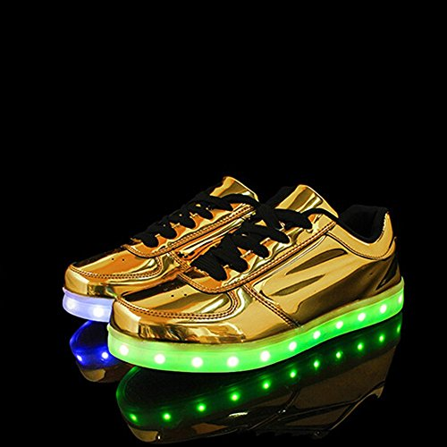 KaLeido Flashing Light Shoes Fashion Shoes Unisex Colors Up USB Charging Shoes Sport Sneakers LED Gold 7 rrqSzngw