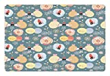 Lunarable Kids Pet Mats for Food and Water by, Cute Hedgehogs Kissing Hearts Love Bees Flowers Cheerful Happy Baby Artwork Image, Rectangle Non-Slip Rubber Mat for Dogs and Cats, Multicolor