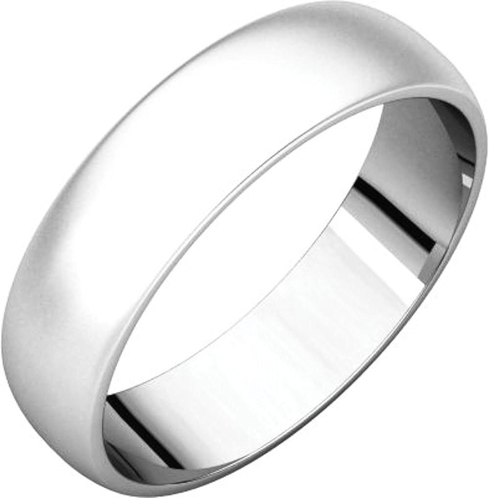 Size 15 Bonyak Jewelry 10k White Gold 5 mm Half Round Lightweight Band