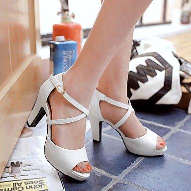 LvYuan Mujer-Tacón Robusto-Otro Zapatos del club-Sandalias-Informal-Semicuero-Negro Rosa Blanco White