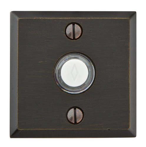 Emtek 2425 Brass Doorbell with Lighted Button and #6 Rosette from the Sandcast B, Medium Bronze