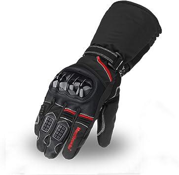 Guanti da Moto Invernali 100/% Impermeabili Touch Screen Guanti Moto Termici per Scooter Motocross ATV BMX MTB e Altri Sport Allaperto per Uomo Donna Nero,M