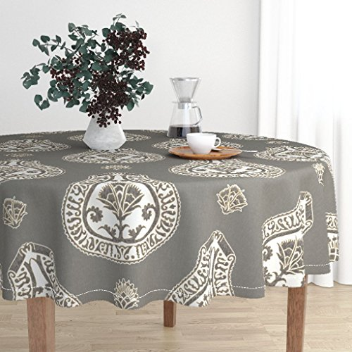 Round Tablecloth - Medallion Coordinate Upholstery by Willowlanetextiles - Cotton Sateen Tablecloth 70in
