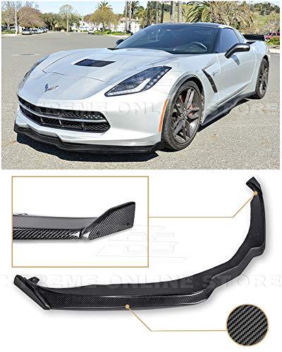 for 2014-Present Chevrolet Corvette C7   Z06 Stage 2 Style Carbon Fiber Front Bumper Lower Lip Splitter with Carbon Fiber Side End Cap Extensions Pair
