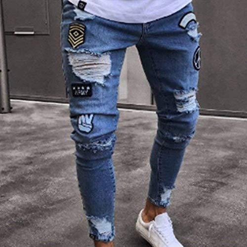 Strappati Elasticizzata Streetwear Hip Hop Estilo Chiusura Blau Uomo Da Jeans Fori Con Pantaloni Especial fWAqY7nX