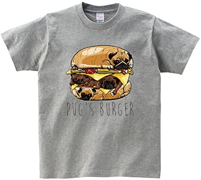 Lindwurm Tシャツ メンズ 半袖 おしゃれ ハンバーガー パグバーガー pug 犬 パグ おもしろ クルーネック Uネック ユニセックス 男女兼用 プリントTシャツ