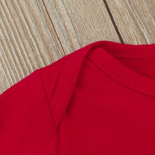Longra Neugeborenes Baby-Mädchen Jungen Strampler tops + Hirsch Hose + Hut Outfit Set Baby Unisex Weihnachten Kleidung(0-24Monate) Red