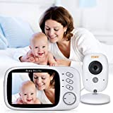FITNATE Video Baby Monitor with 3.4inch LCD Display Wireless Digital Camera Night Vision Temperature Monitoring 2 Way Talkback System, Built-in 8 Remote Lullabies Long Range and High Capacity Battery