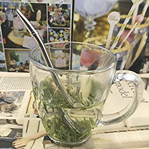 Stainless Steel 304 Drinking Spoon Straws - Silver Spoons Bombillas Yerba Mate Straw - 6.22 Filter Loose Leaf Tea Infuser Barware Strainer Stirring Straws (Color: Silver)