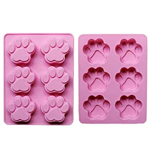 2 Pack Value Silicone Molds Pet Paw Print Animal Paw Print for Homemade Dog Treats, Baking Chocolate Candy, Oven Microwave Freezer Safe
