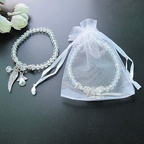12 Pcs Angel Wing Clear Crystal Bracelet Favor