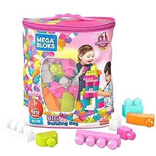 Mega Bloks First Builders Big Building Bag with Big Building Blocks, Building Toys for Toddlers (80 Pieces) - Pink Bag