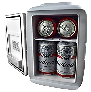 Open silver mini cooler holding four beer cans