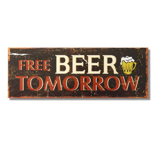 Beer Free - Adeco Decorative Wood Wall Hanging Sign Plaque Free Beer Tomorrow Brown Red Home Decor - 18.9x6.7 Inches
