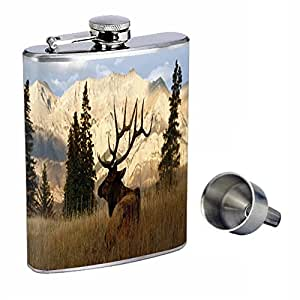 Elk Perfection In Style 8oz Stainless Steel Whiskey Flask with Free Funnel D-002