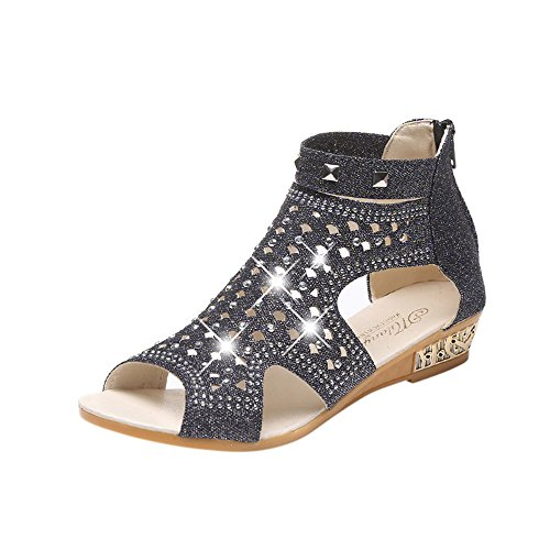 Voberry Sandalen, Frauen Damen Kristall Bling Wedges Sandalen Mode Fisch Mund Hohl Roma Schuhe Black
