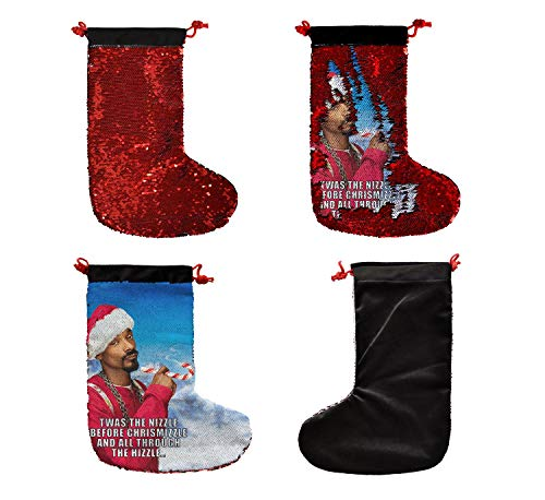 Christmas Snoop Dog Santa Weed_SS0023 Funny ChristmasStocking,15,7 inch SequinChristmasStockings, Nicolas Cage Goldblum Gifts, Funny Christmas Decor, Nerdy White Elephant Presents (Stocking Christmas Funky)