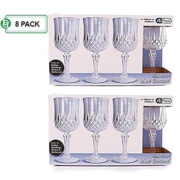 Fiesta Bargains plástico copas de vino | elegante rígida de plástico desechables copa de vino ideal para fiestas y bodas para servir champán y vino | Pack ...
