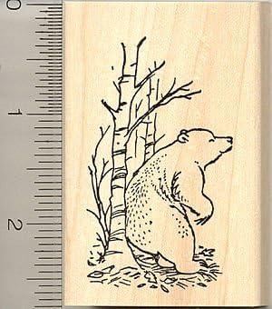 Bear Rubber Stamp Mounted Wood Block Art Stamp