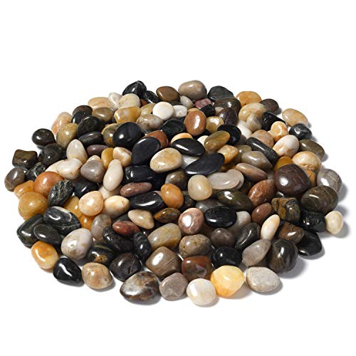 (OUPENG Aquarium Gravel River Rock - Natural Polished Decorative Gravel, Small Decorative Pebbles, Mixed Color Stones,for Aquariums, Landscaping, Vase Fillers 2 Pounds (32-Oz))