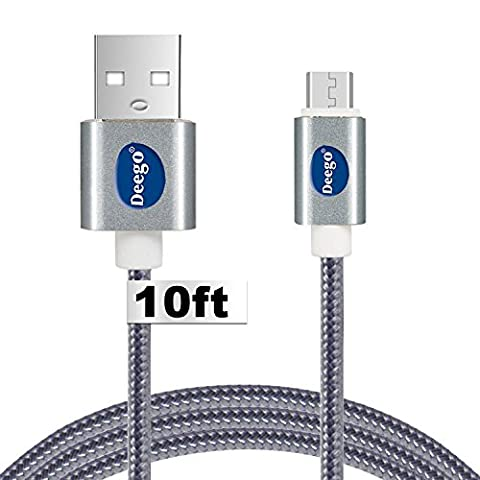 Micro USB Charger,10 Feet Extra long and Fast Android usb charger cable cord for Samsung S7 edge,S6 edge,Note 5/4/3, HTC, LG, Nokia, (Fast Charger Kindle Fire)