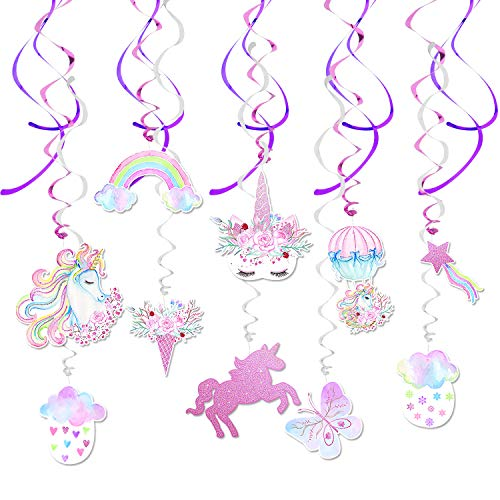 WERNNSAI Unicorn Hanging Swirl Decorations - The Newest Design! Magic Rainbow Unicorn Themed Party Supplies for Girls Birthday, Baby Shower, Wedding, Bride to be Parties 30 PCS