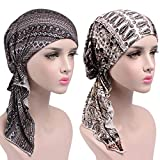 Womens Chemo Hat Beanie Pre Tied Head Scarf Turban Headwear for Cancer Patients (2pack Brown+Colorful)