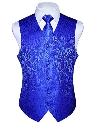 HISDERN Men's Paisley Jacquard Solid Waistcoat & Necktie and Pocket Square Vest Suit Tuxedo Set ()